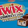 TWIX® Cookies & Creme Ice Cream Bars are packed with creamy vanilla ice cream mixed with chocolate cookie pieces, topped with crunchy chocolate cookies.